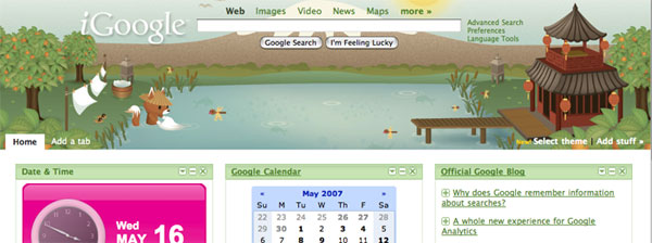 igoogle tea house fox theme